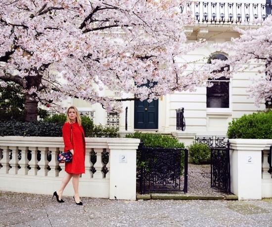 Red winder london coat cherry  blossom