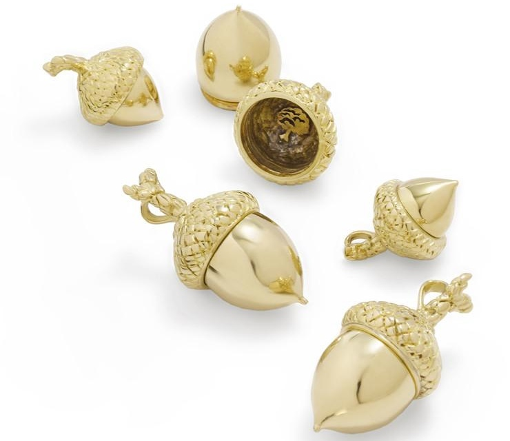 Brass charms Acorns Package of 6